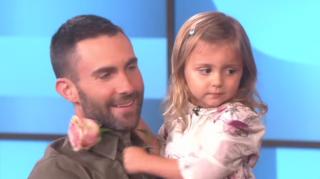 Adam Levine and little girl meet on Ellen DeGeneres
