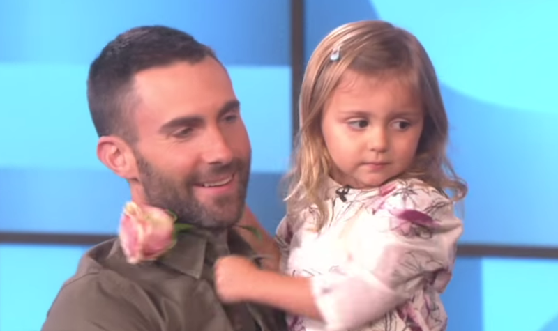 Adam Levine and little girl meet on Ellen DeGeneres