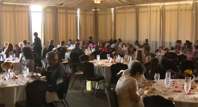 Homeless dine at jilted bride's reception
