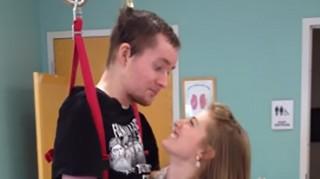 Quadriplegic Joel Jackson shares first dance with wife Lauren.