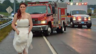 Paramedic bride Sarah Ray leaving scene of car accident.