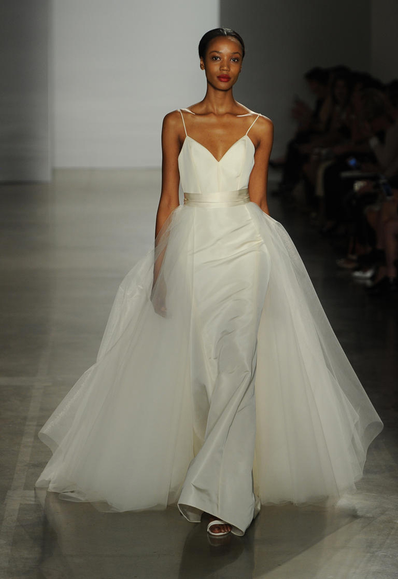 Amsale convertible wedding dress the knot news model walking runway in an amsale convertible dress junglespirit Choice Image