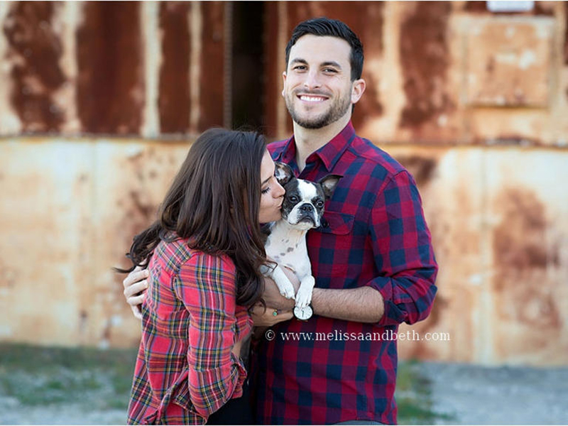 Jade Roper and Tanner Tolbert pose with dog