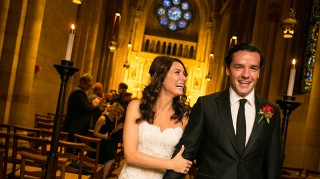 Laura Benanti and Patrick Brown walk down wedding aisle