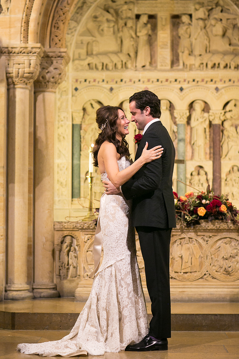 laura benanti and patrick brown wedding altar the knot news