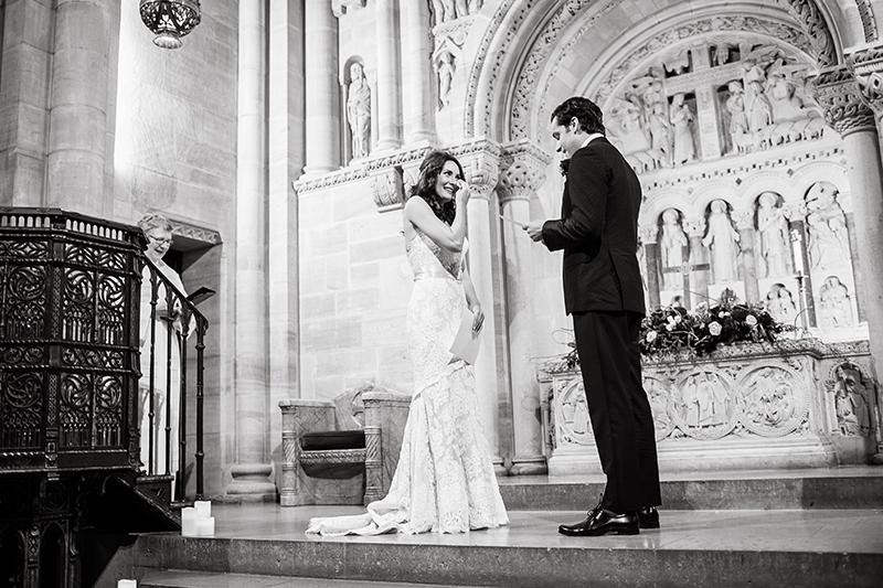 Laura Benanti and Patrick Brown exchanging wedding vows