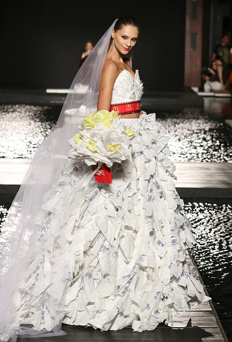 Model wearing McDonald's wedding dress