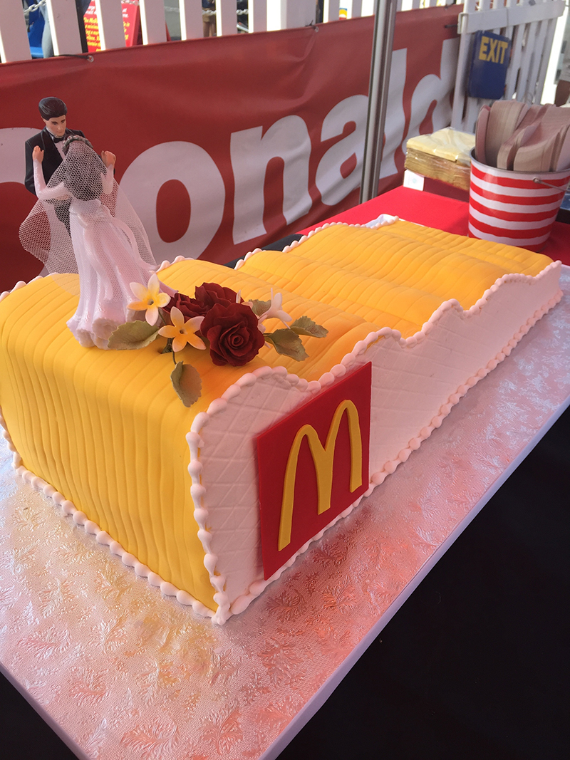 McDonald's giant slide wedding cake