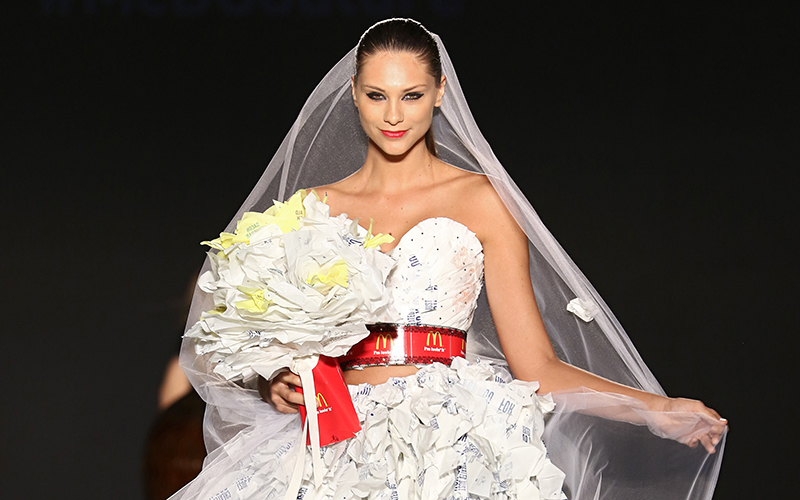 Wedding dress made out of McDonald's wrappers