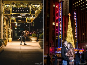 Alanna and Nick take engagement photos in front of the Warwick Hotel and Radio City Music Hall.