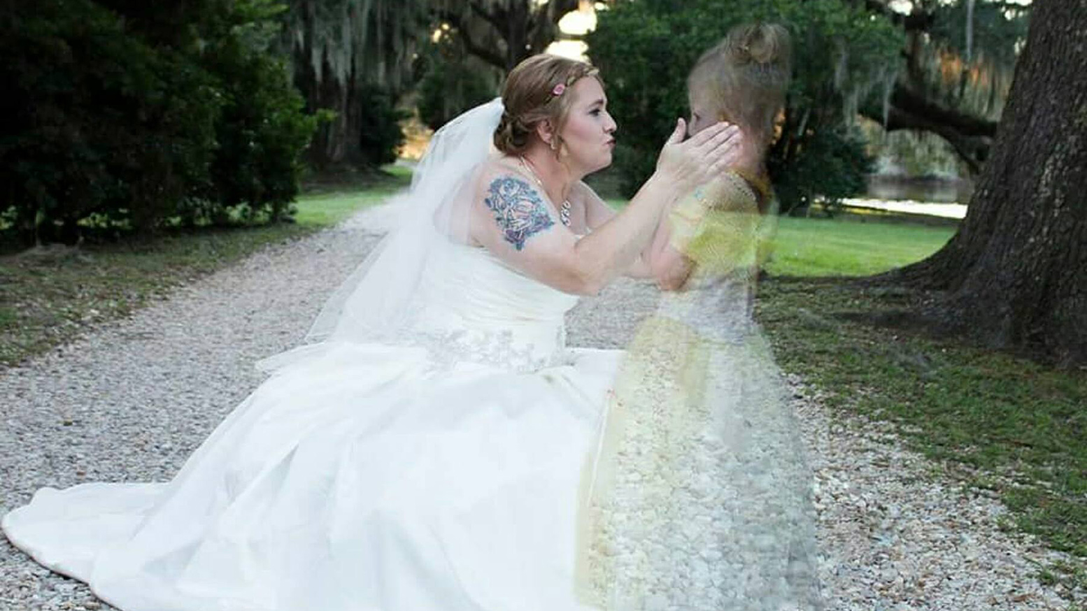 bride and late daughter reunite in viral wedding photos