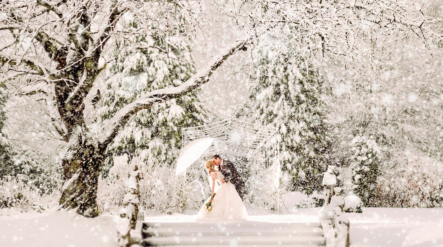 Surprise Blizzard Creates Snowy, Winter Wedding Photos