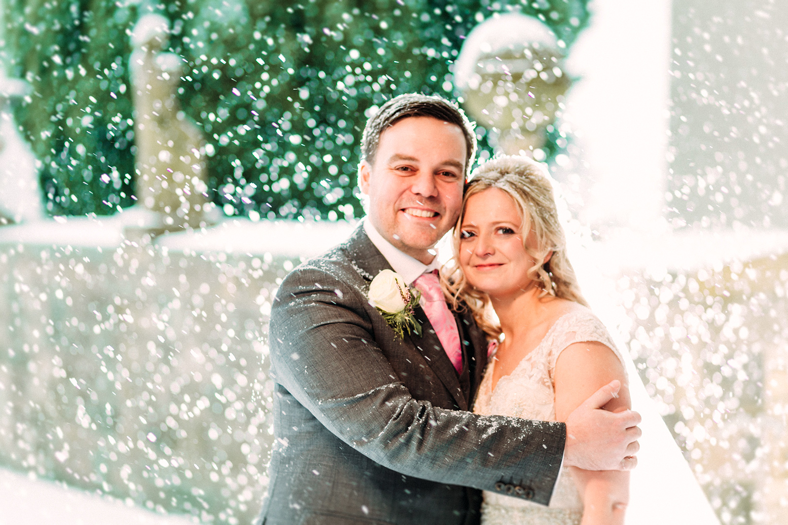 Carly and Chris Atwill were caught in a blizzard at their wedding