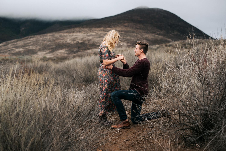 Hudson Sheaffer proposes to Sasha Pieterse at Lake Skinner in California.
