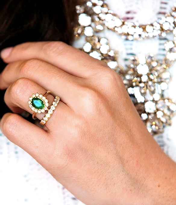 Emerald engagement ring from Christmas tree farm wedding