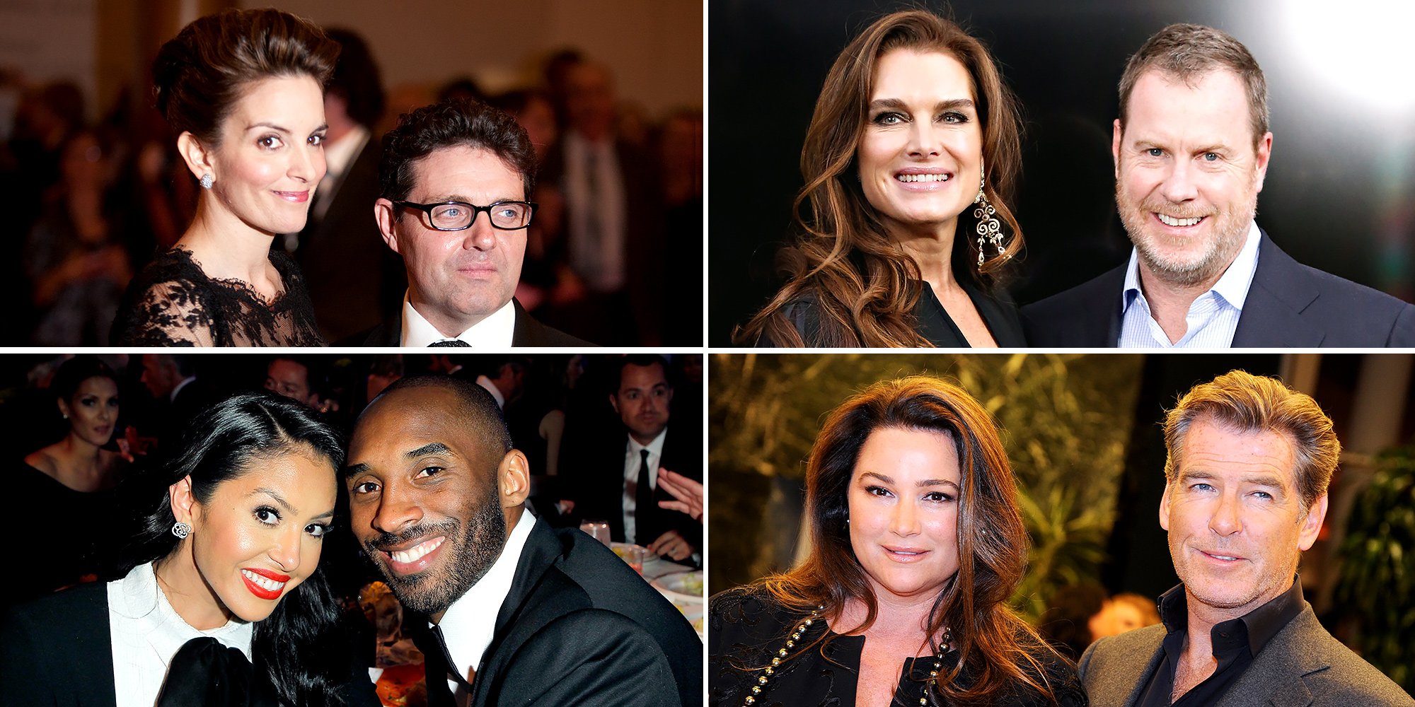 Tina Fey, Brooke Shields, Kobe Bryant, Pierce Bronsan celebrating their wedding anniversaries in 2016.
