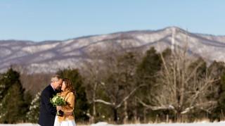 Blizzard elopement couple