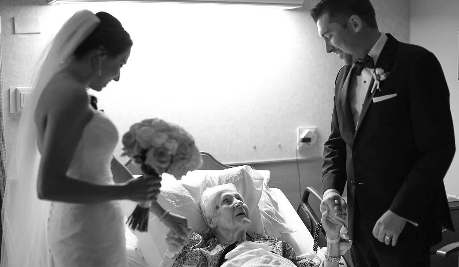 Bride and groom surprise grandmother at rehabilitation center