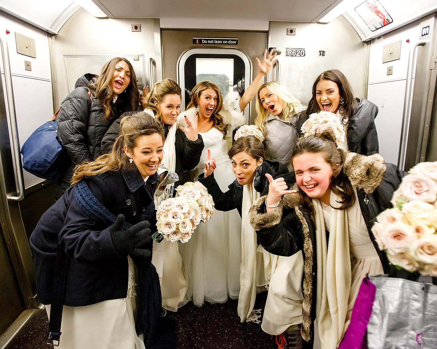 Ashley and bridesmaids ride the subway during blizzard