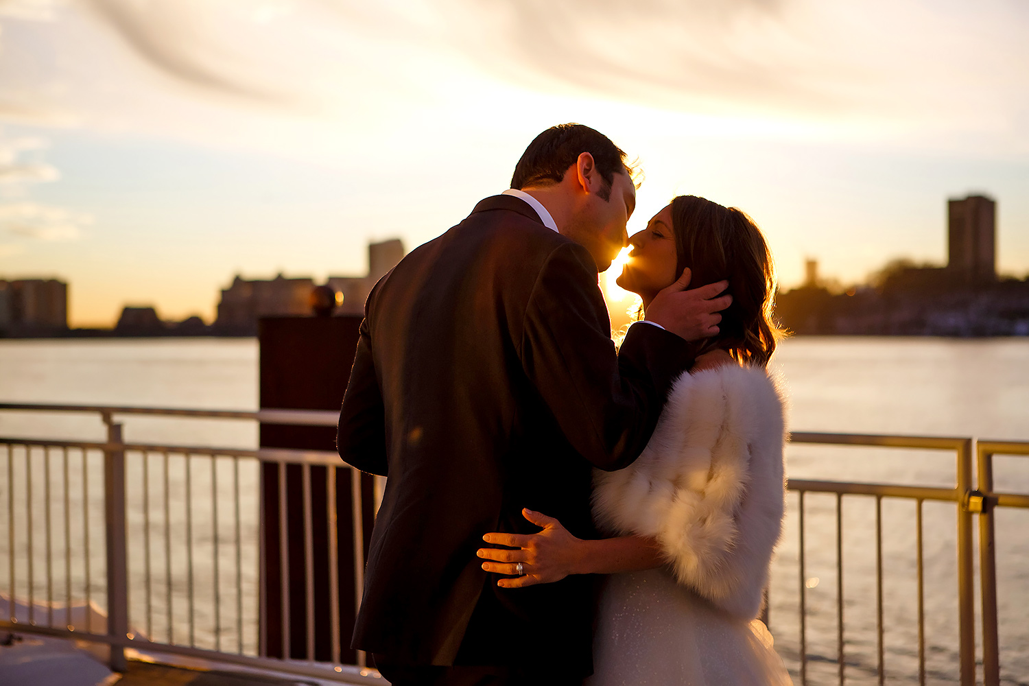 Casey and Ashley kiss at Chelsea Piers during the sunset