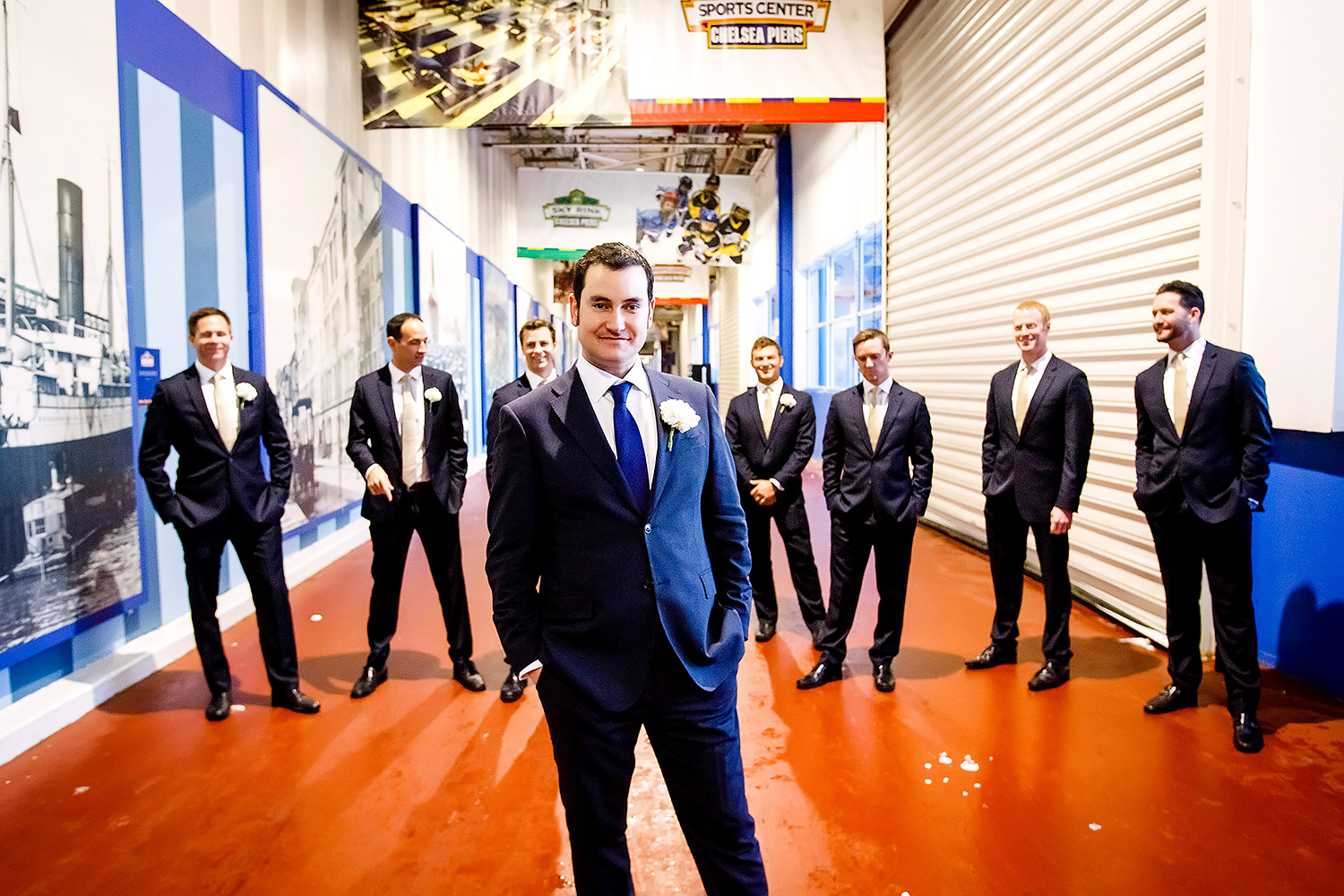 Casey and his groomsmen at Chelsea Piers