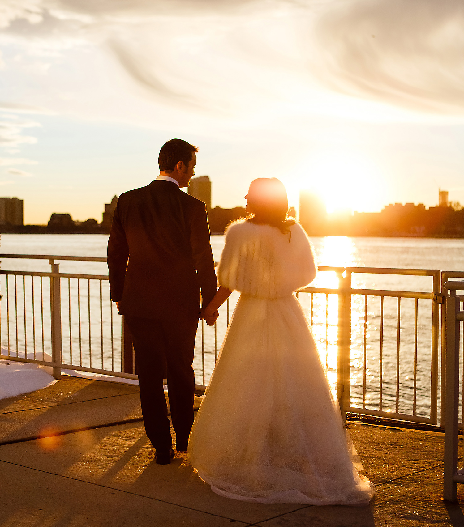Casey and Ashley took photos on the Hudson River