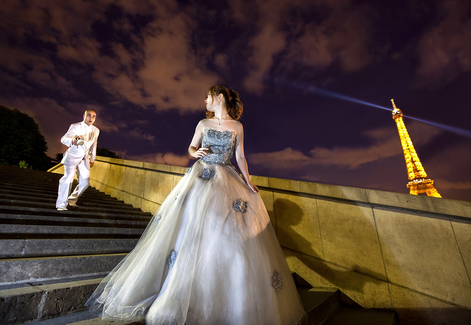 Bride and groom recreating Disney's Cinderella