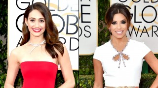 Emmy Rossum, Eva Longoria at the Golden Globes