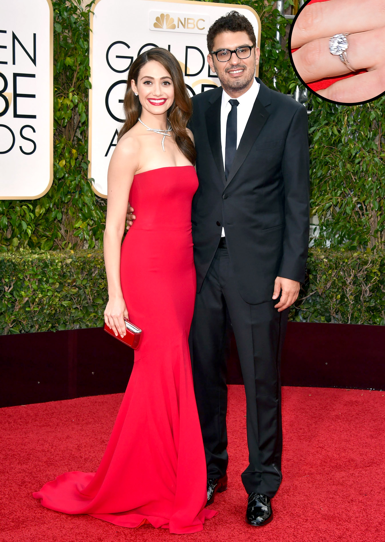 Emmy Rossum and fiance Sam Esmail on 2016 Golden Globes red carpet