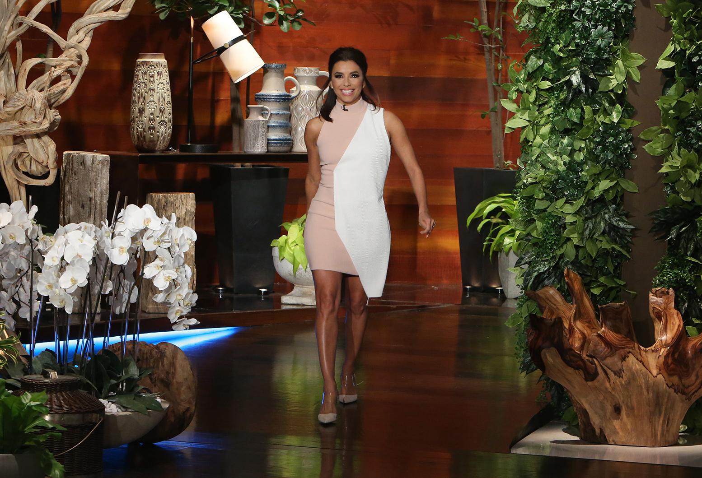 Eva Longoria walking onto Ellen DeGeneres' set