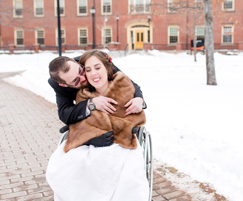 Trevor giving bride Charlotte a huge