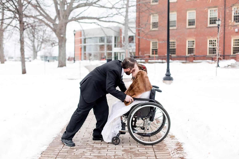 Trevor kissing bride Charlotte