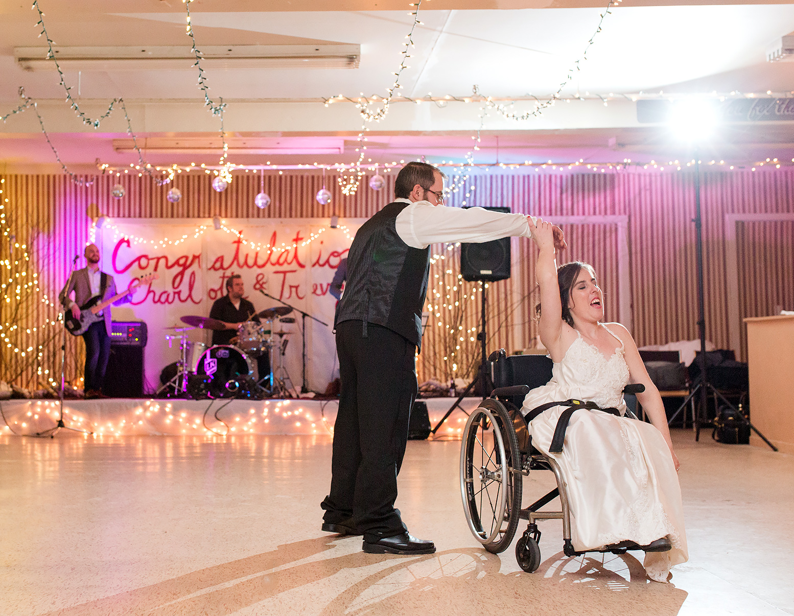 Trevor and Charlotte dancing during their reception