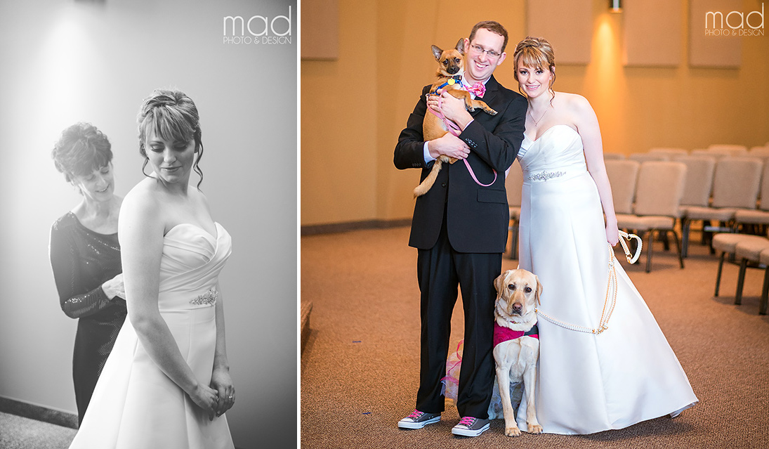 Newlyweds Andrew and Valerie pose with their dogs