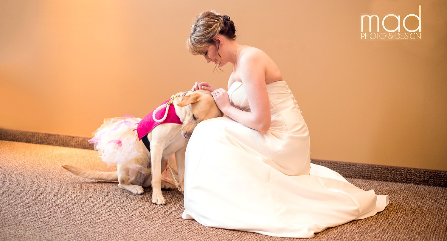 Bride with her service dog