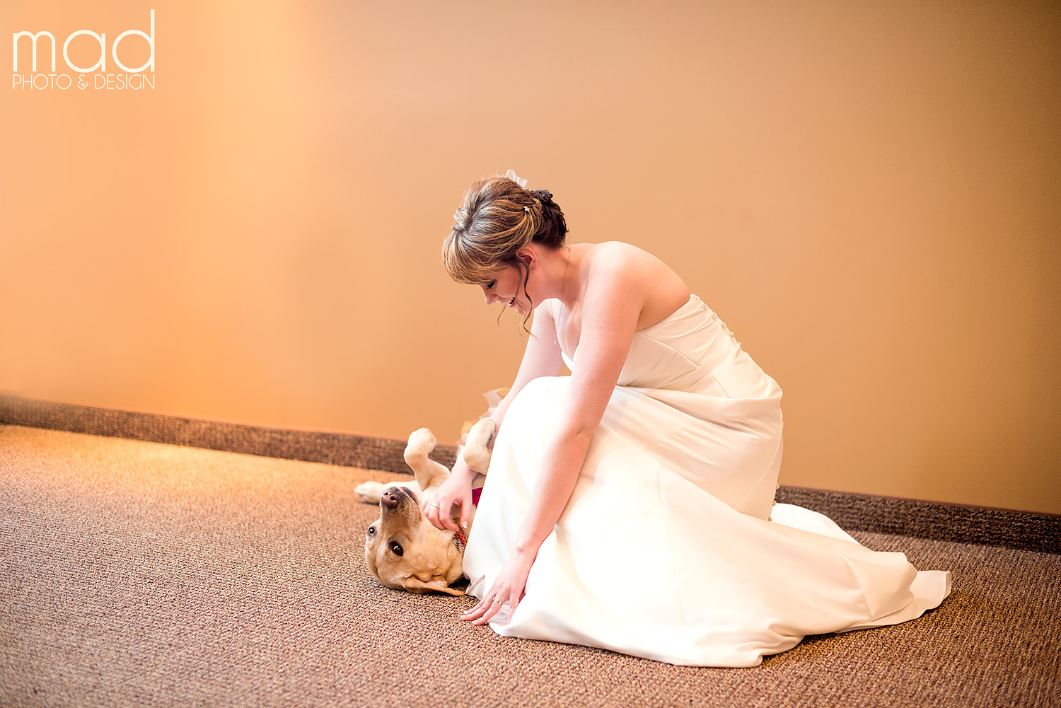 Bride with her rescue dog