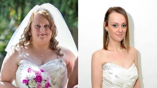 Bride before and after weight loss