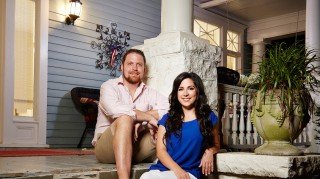 David Norton and Ashley Doherty in front of Married at First Sight home