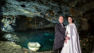 Micha and Phillip Trim's incredible cave wedding at the Carnglaze Caverns