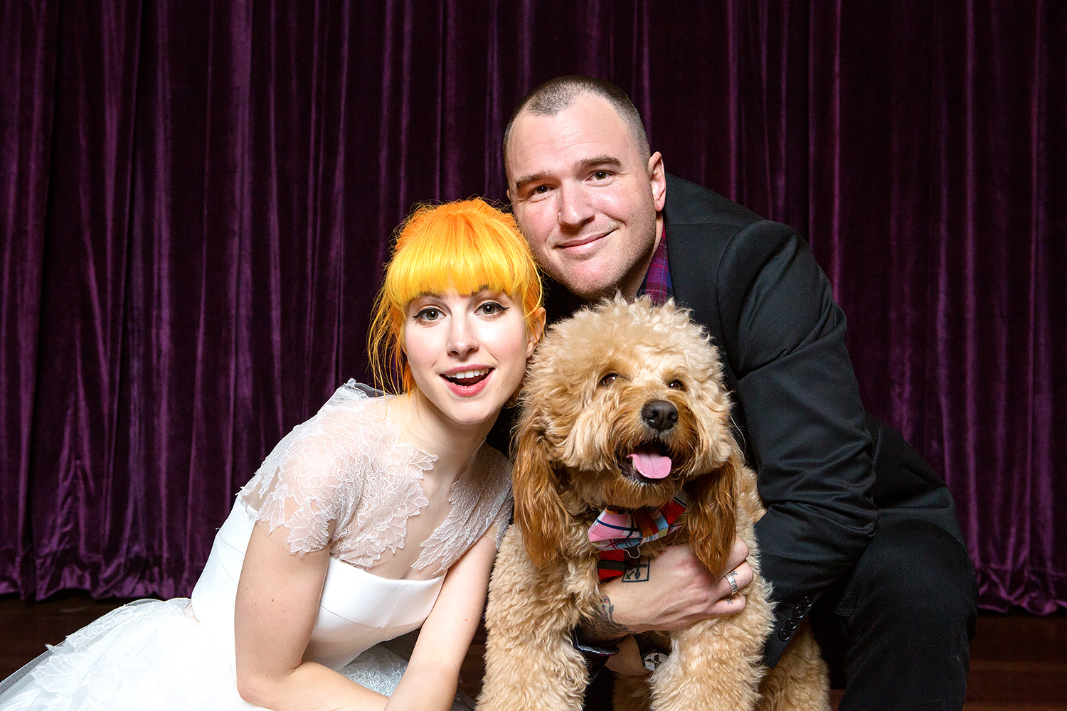 Hayley Williams and Chad Gilbert with their dog Alf.