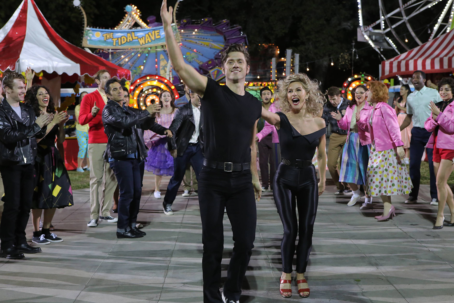 Aaron Tveit as Danny and Julianne Hough as Sandy on Grease: Live