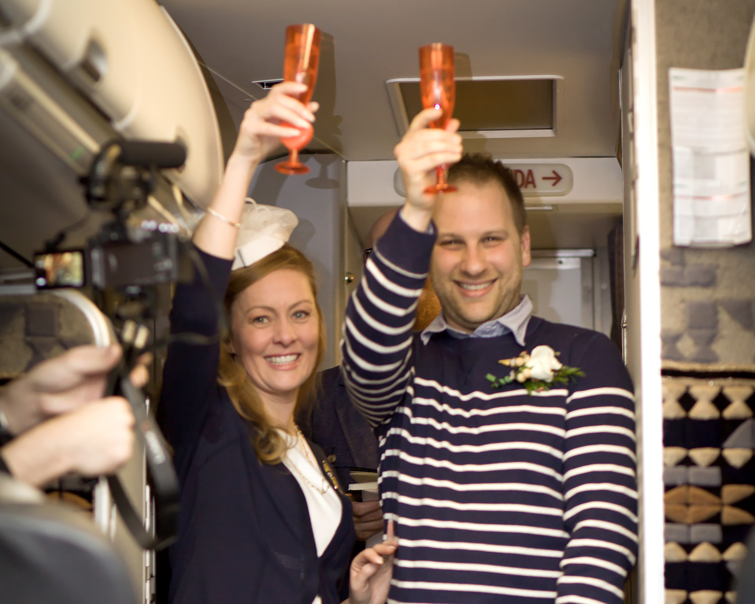 Airplane wedding champagne toast