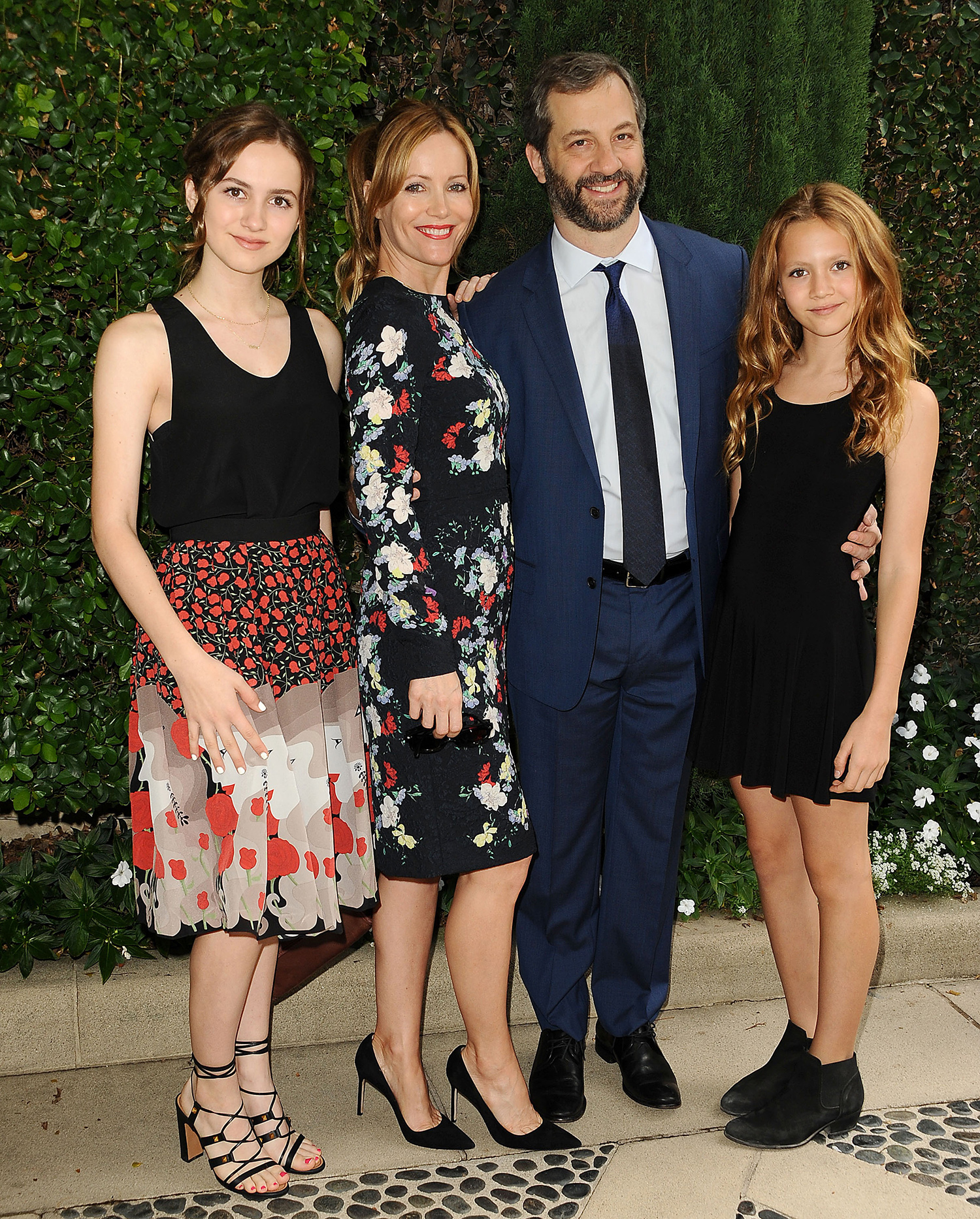 Leslie Mann and Judd Apatow with daughters Maude and Iris
