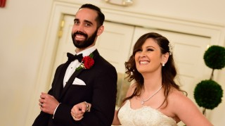 Married at First Sight's Neil Bowlus and Sam Role smiling on wedding day