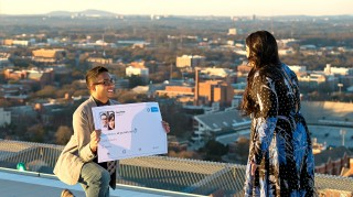 Anuj Patel used a life-size tweet to propose to his girlfriend Sumita Dalmia