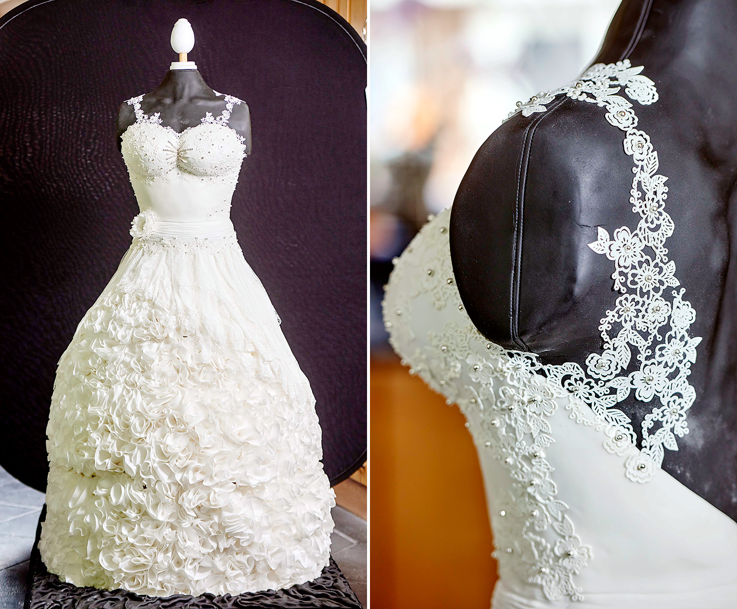 stunning wedding dress cake is 165 pounds and completely edible