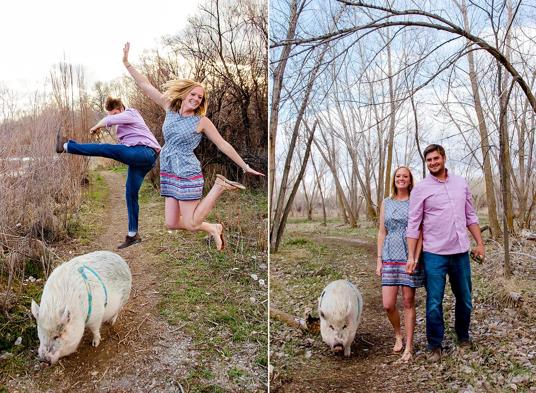 Pig photobombs engagement photos