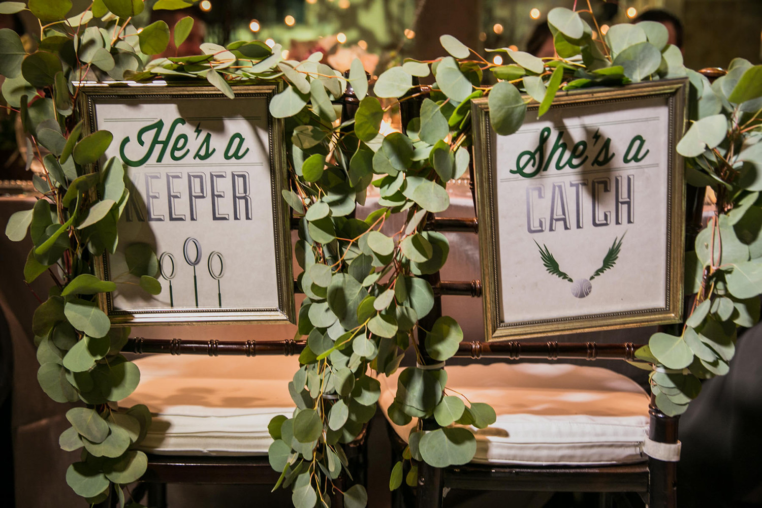 Harry Potter wedding chair signs