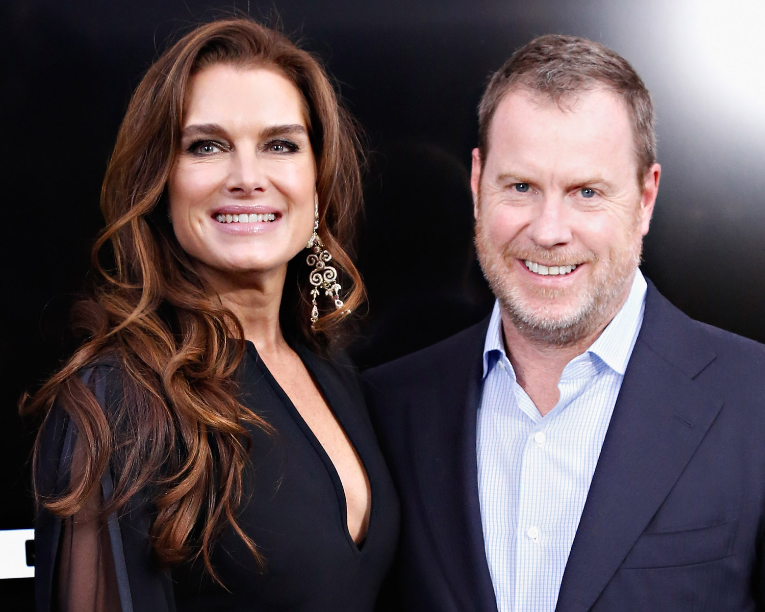 Brooke shields and husband chris henchy attend the anchorman 2 the