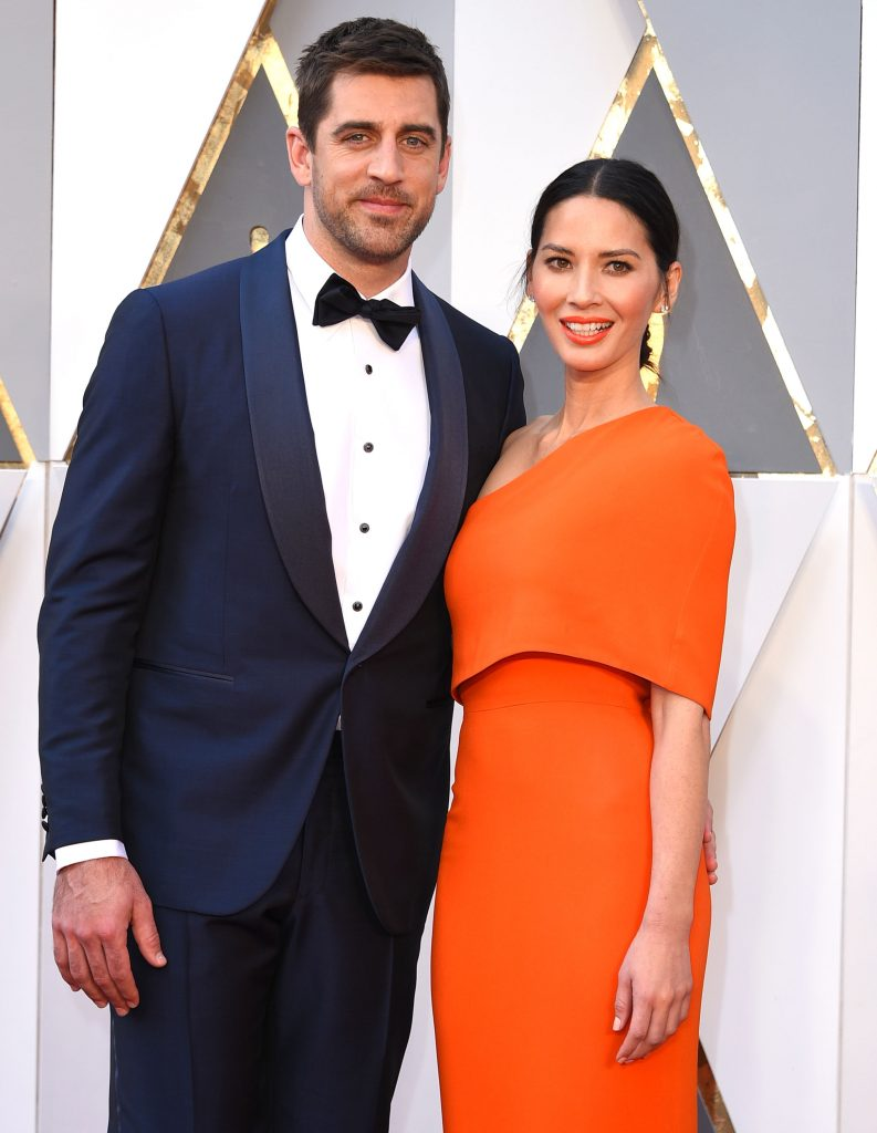 Olivia Munn and Aaron Rodgers arrives at the 88th Annual Academy Awards at Hollywood & Highland Center on February 28, 2016 in Hollywood, California. (Photo by Steve Granitz/WireImage)